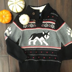 GAP Toddler Wolf Holiday Sherpa Neck Sweater 5